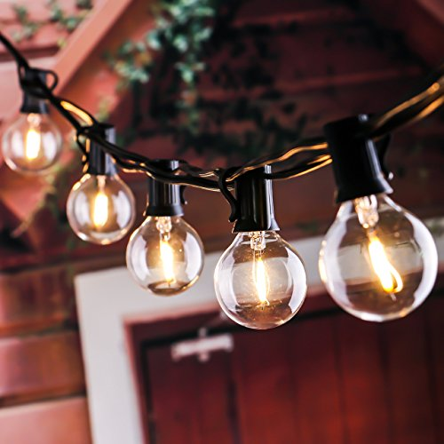 25Ft G40 Globe String Lights with Clear LED Bulbs, Energy Saving UL listed Backyard Patio Lights for Bistro Pergola Tents Market Cafe Gazebo Party Decor, Black - Male Style Retro