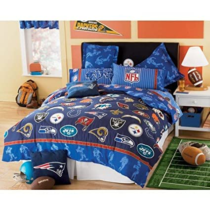 NFL FOOTBALL LOGO 5 PIECE TWIN BEDDING SET, Comforter Sheets Sham NEW NFL  Teams Football