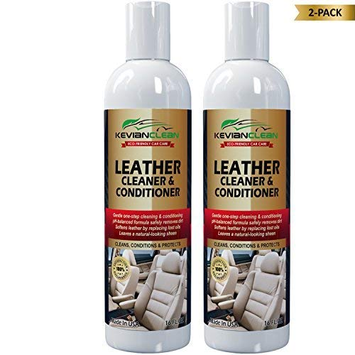 KevianClean Leather Cleaner and Conditioner 16 oz. (2-Pack) - 1 Product Cleans, Conditions, Moisturizes, Protects, Revives, Rejuvenates & Restores All Types of Finished Leather Items New or Old ()