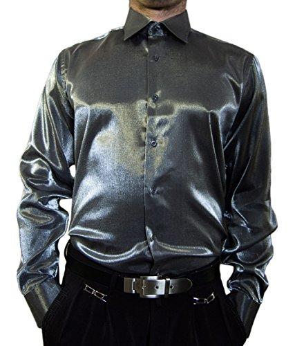 Designer Glanz Herren Hemd Silber Glanzhemd Bügelfei Kentkragen XL 43