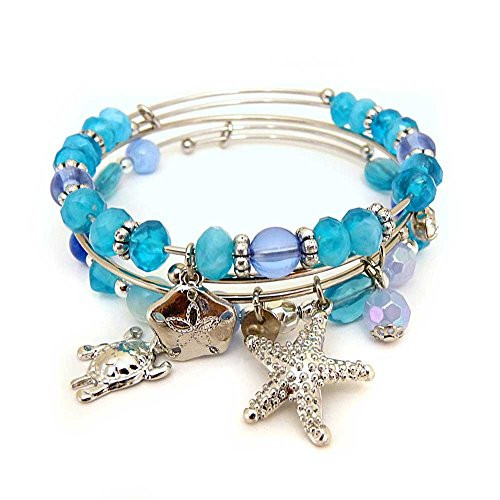 KIS-Jewelry Symbology 'by The Sea' Bangle Bracelet Set - Three Piece Expandable Wire Charm Bracelet with Multiple Colors That Pop - Perfect Jewelry for -