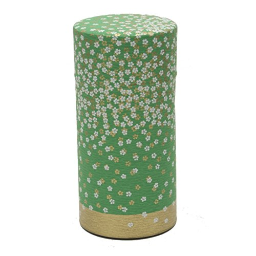 1 Pc Japanese Green Flower Garden 200g Tea Canister #499-549 by 123kotobukijapanstore