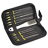 14Pcs Needle File Set, Mini Assorted Wood Rasp Set Steel Needle Files Trimming File with Wire Brush for Wood Carving