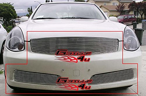 (APS Compatible with 05-06 Infiniti G35 Sedan Billet Grille Grill Combo Insert N87878A)