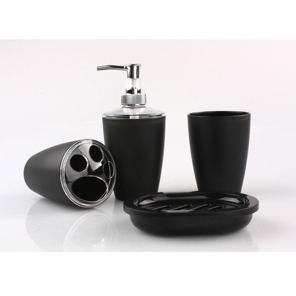 Pixnor 4 pièces salle de bain accessoire Set distributeur gobelet brosse à dents porte-savon (noir)