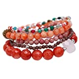 Fashion Multilayer Gemstone Natural Stone Beaded Stretch Bracelets Bohemian Jewelry 5pcs Set for Women Girls Handmade Bracelets (Grapefruit red silver)
