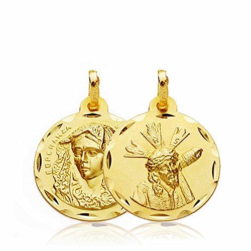 Médaille pendentif or 18k Scapulaire Virgin Macarena Gran Poder 18mm. [AA2504]