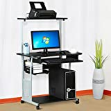 go2buy 2 Tier Computer Desk with Printer Shelf Stand Home Office Rolling Study Table Black