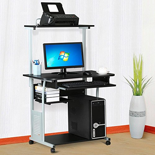 World Pride 2 Tier Computer Desk with Printer Shelf Stand Home Office Rolling Study Table Black World Pride