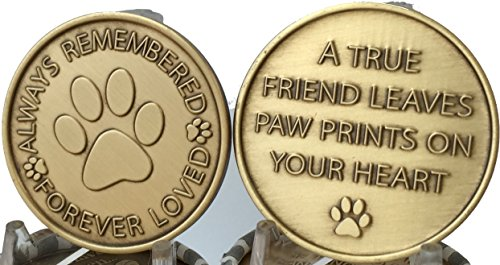 set-of-2-always-remembered-forever-loved-bronze-dog-memorial-tokens-pet-bereavement-gift