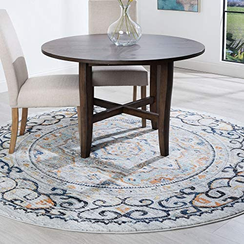 Tayse Veriana Blue 8 Foot Round Area Rug for Living, Bedroom, or Dining Room – Boho, Medallion
