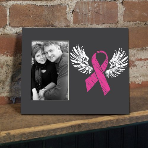 VictoryStore Gift Frame - Breast Cancer Awareness Picture Frame #5 - Pink Ribbon w/Wings - Holds 4
