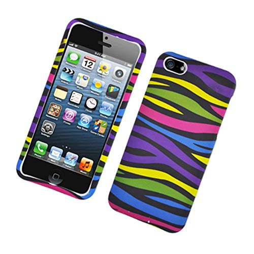 Insten Zebra Rubberized Hard Snap-in Case Cover Compatible with Apple iPhone 5/5S, Colorful