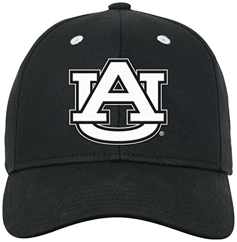 White Structured Adjustable Hat - NCAA by Outerstuff NCAA Auburn Tigers Youth Boys Black & White Structured Adjustable Hat, Black, Youth One Size