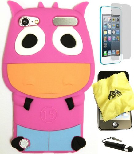 BUKIT CELL HOT PINK Cow Ox 3D Cartoon Soft Silicone Skin Case Cover for IPOD TOUCH 5 5G 5TH GENERATION + BUKIT CELL Trademark Lint Cleaning Cloth + Screen Protector + WirelessGeeks247 METALLIC Touch Screen STYLUS PEN with Anti Dust Plug [bundle - 4 items: case, cloth, stylus pen and screen protector]