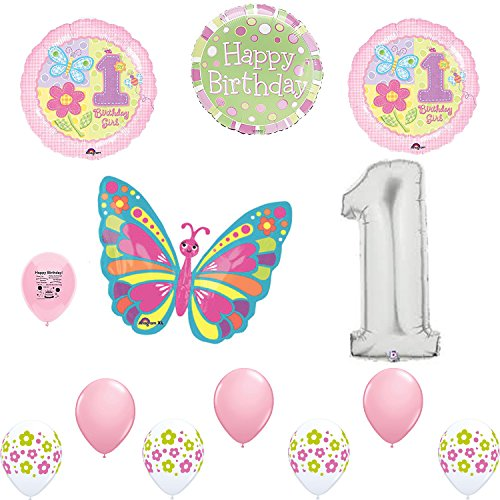 Birthday Balloons Happy Butterfly (Sweet Girl 1st Birthday Party Flowers and Butterflies Balloon Decoration Kit)