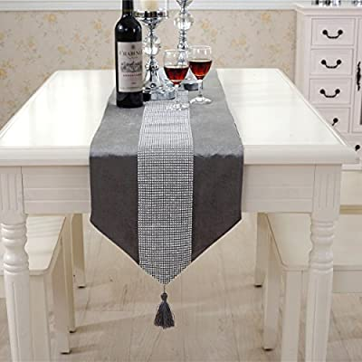 "Western Modern Grey Table Runners Tapestry Middle Diamond 98 inch Approx for Wedding and Party - Dimensions(approx):Size approx 12"" * 98"" (33cm x 250cm) Simple modern Comfortable fabrics, color fresh and elegant, versatile, can be used as computer pads, hand bags Placemats - table-runners, kitchen-dining-room-table-linens, kitchen-dining-room - 51JCaCYQSgL. SS400  -"