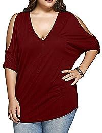 VOGRACE Women's Plus Size T-Shirt Deep V Neck Cold...
