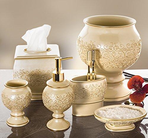 Shannon Bathroom Trash Can 8 2 X 8 2 X 9 9 Decorative Wastebasket Durable Resin Waste