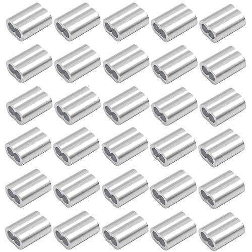 (CCTVMTST 30 Pieces Aluminum Crimping Loop Sleeves Crimp for 1/4