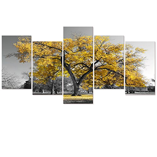 Visual Art Decor Autumn Forest  Prints Black and White Gold Tree Picture