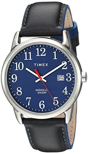 5846f4547312 Timex Men s T2H291 Easy Reader Black Leather Strap Watch - T2H2919J ...