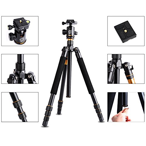Andoer DSLR Camera Tripod – Professional Q999 Portable Travel Compact Monopod With Ball Head Adjustable Legs Magnesium Aluminium For Digital Canon Nikon Sony Olympus Pentax with Carrying Bag
