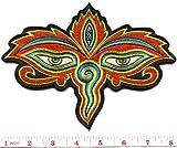 Eyes of Buddha buddhist trance aum om yoga boho hippie embroidered applique iron-on patch new