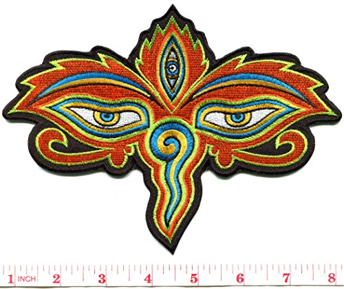 Eyes of Buddha buddhist trance aum om yoga boho hippie embroidered applique iron-on patch new by TKPatch
