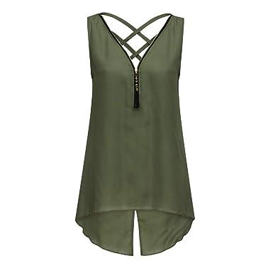 3f4f5f586370 Amazon.com: Sinfu Shirt Women's Sleeveless Zipper V-Neck Back Cross Strap  Split Irregular Tank Top Blouse: Clothing
