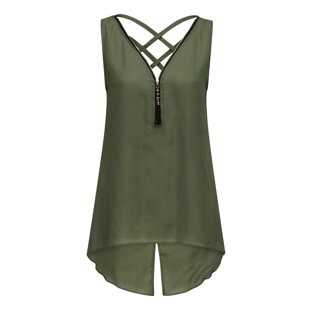 Duseedik Women's Summer Tops Loose Sleeveless Blouse Cross Back Irregular Hem Zipper V-Neck Tank Top T-Shirt Tunic Army Green