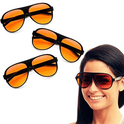 3 Pair Aviator Blue Blocker Sunglasses Amber Lens Driving...