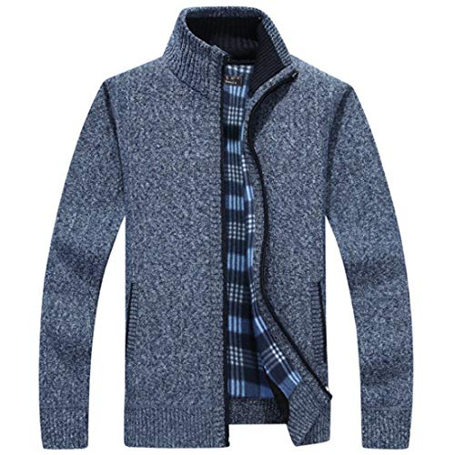 Aiweijia Cremallera Hombres Suéter Suave Floja Casual Los Chaqueta Punto Azul Completa De Gruesos 8T8wYq