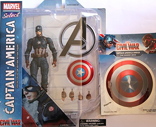 Diamond Select Toys Marvel Select: Captain America: Civil War: Captain America Action Figure Bundle includes Cap Shield Vinyl Window Decal Sticker