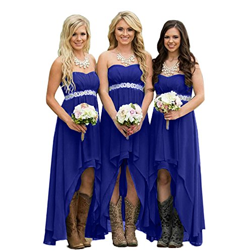 (Fanciest Women' Strapless High Low Bridesmaid Dresses Wedding Party Gowns Royal Blue US6)