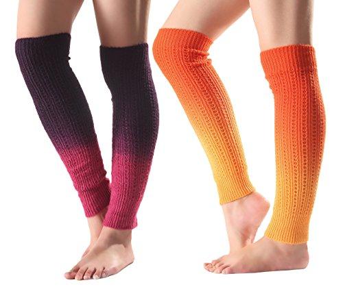 Urban-CoCo-Womens-Gradient-Color-Footless-Socks-Knit-Crochet-Warm-Leg-Warmer-2-pack-A