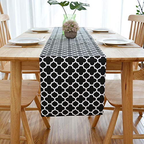 NATUS WEAVER 2 Side Quatrefoil Lattice Accent Geometric Table Runner for Morden & Stylish Wedding Holiday Party Decor,Cotton Canvas 12 x 60 Inches, Black ()