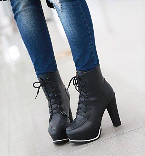 de Alto HETAO Bomba Plataforma Black Personalidad Mujeres la de Tacones la de de Superior Elegantes Vendimia Temperamento Tacón la de Parte Zapatos de Botas Baja de Correas la 10x61w