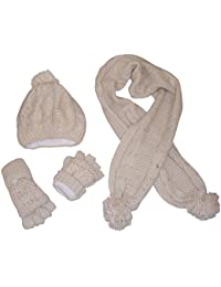 Women's Bulky Cable Knit Hat/Scarf/Converter Glove Set