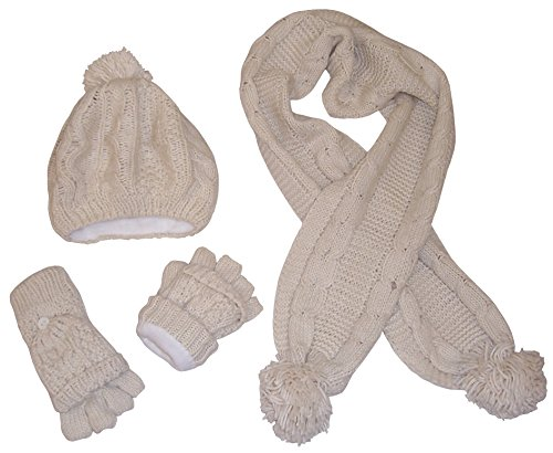 - N'Ice Caps Women's Bulky Cable Knit Hat/Scarf/Converter Glove Set (Womens one size fits all, Winter White)