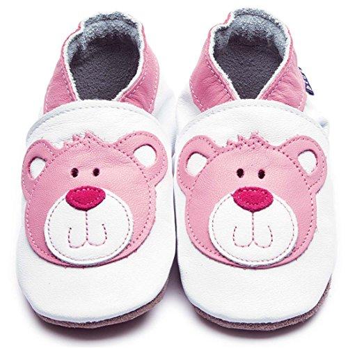 Inch Blue niñas funda de piel suave suela zapatos de para cochecito de bebé-Teddy, color blanco y rosa