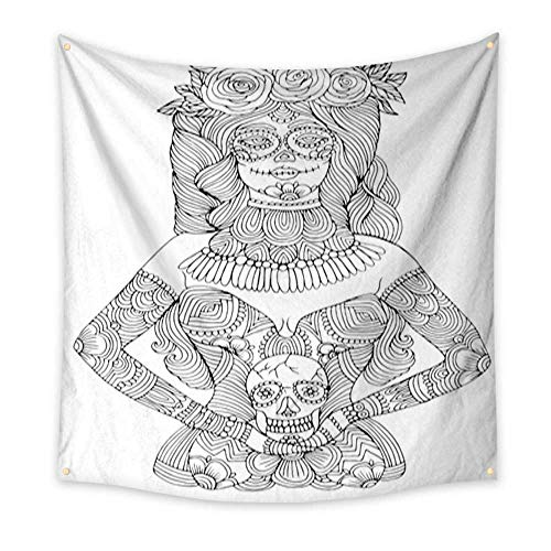 (Anniutwo Wall Hanging Tapestry Girl with Calavera Makeup Holding Sugar Skull Halloween Coloring Page Large tablecloths Wall Tapestry 70W x 70L)