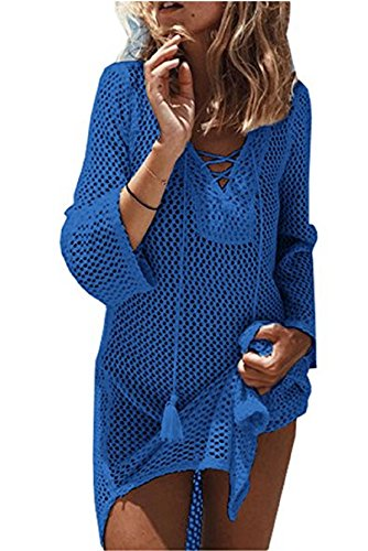 Wander Agio Beach Swimsuit for Women Sleeve Coverups Bikini Cover Up Net Lace-up Blue ()