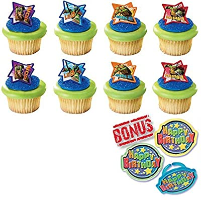 Teenage Mutant Ninja Turtles Michelangelo, Leonardo, Donatello and Raphael Cupcake Toppers and Bonus Birthday Ring - 25 pieces