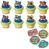 Teenage Mutant Ninja Turtles Michelangelo, Leonardo, Donatello and Raphael Cupcake Toppers and Bonus Birthday Ring - 25 pieces