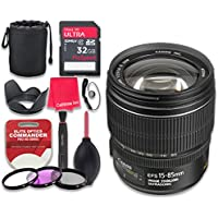 Canon EF-S 15–85mm f/3.5–5.6 IS USM Lens with 32GB Ultra Pro Speed Class 10 SDHC Memory Card + 3pc Filter Kit (UV-FLD-CPL) + Deluxe Sleeve + Celltime Microfiber Cleaning Cloth - International Version