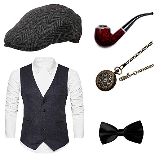 Zivyes Mens 1920s Accessories Gangster Vest Set Halloween Costume Accessories Fedora Hat (2XL, Dark Grey) (1920 Sonnenbrille)
