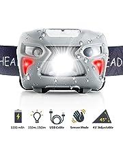 AUWOD Lampe Frontale USB Rechargeable Orientable Imperméable LED Headlamp Etanche Ultra Puissante Torche Frontale 8 Modes avec Contrôle du Capteur