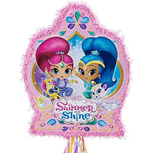Ya Otta Pinata Pull String Shimmer and Shine Pinata, Birthday Party, 2lb Filler Capacity, 17 1/2 x 21 1/2 x 3 Inches ()