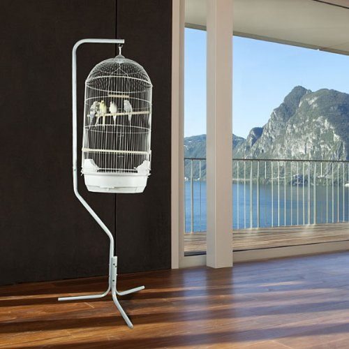 Princeville Palace Bird Cage with Stand - 21'' W x 16'' D x 56'' H - White by BirdCages4Less